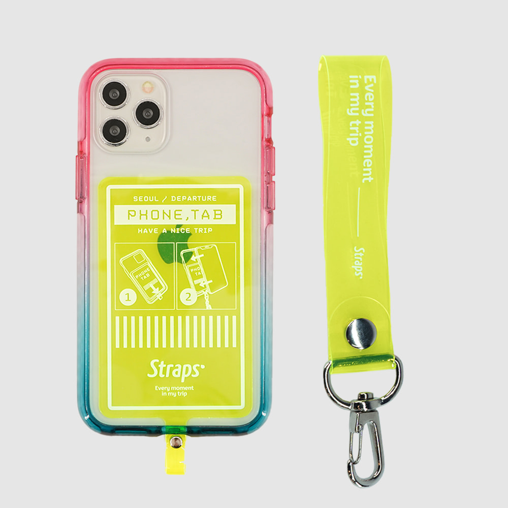 Phone Tab Green iPhone 11 Series PVC Strap Case